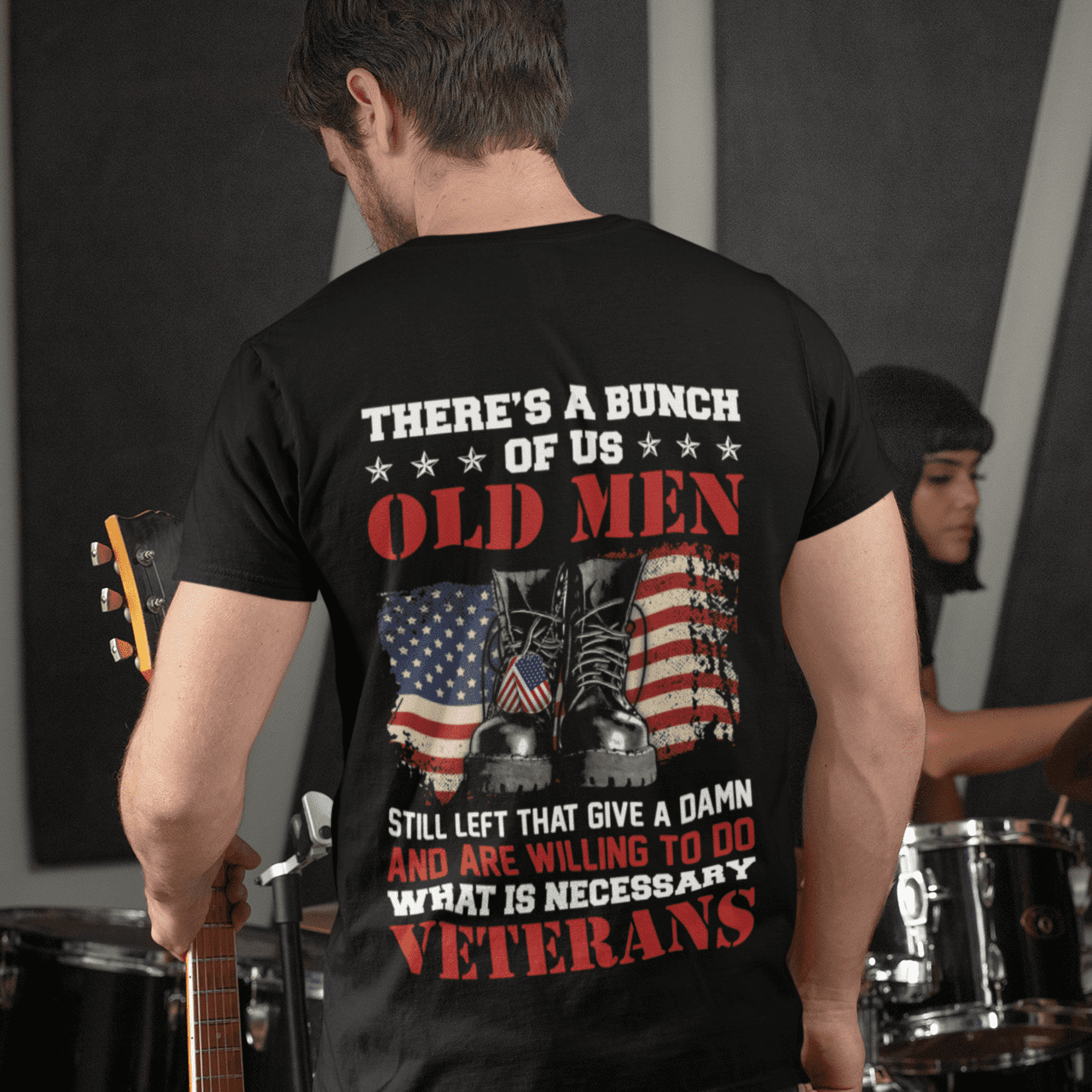 There's a Bunch of Us Old Men Veteran Plain Printed On Back Tshirt