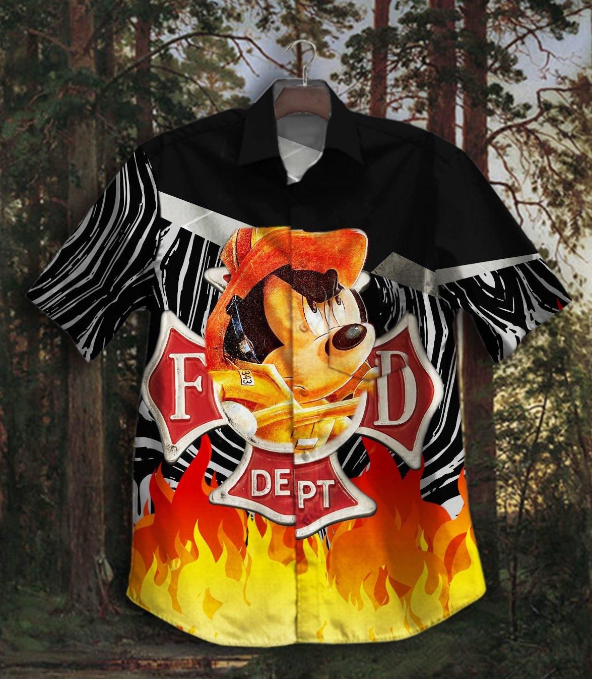 FireFighter Mickey Hawaiian Shirt Summer Shirt