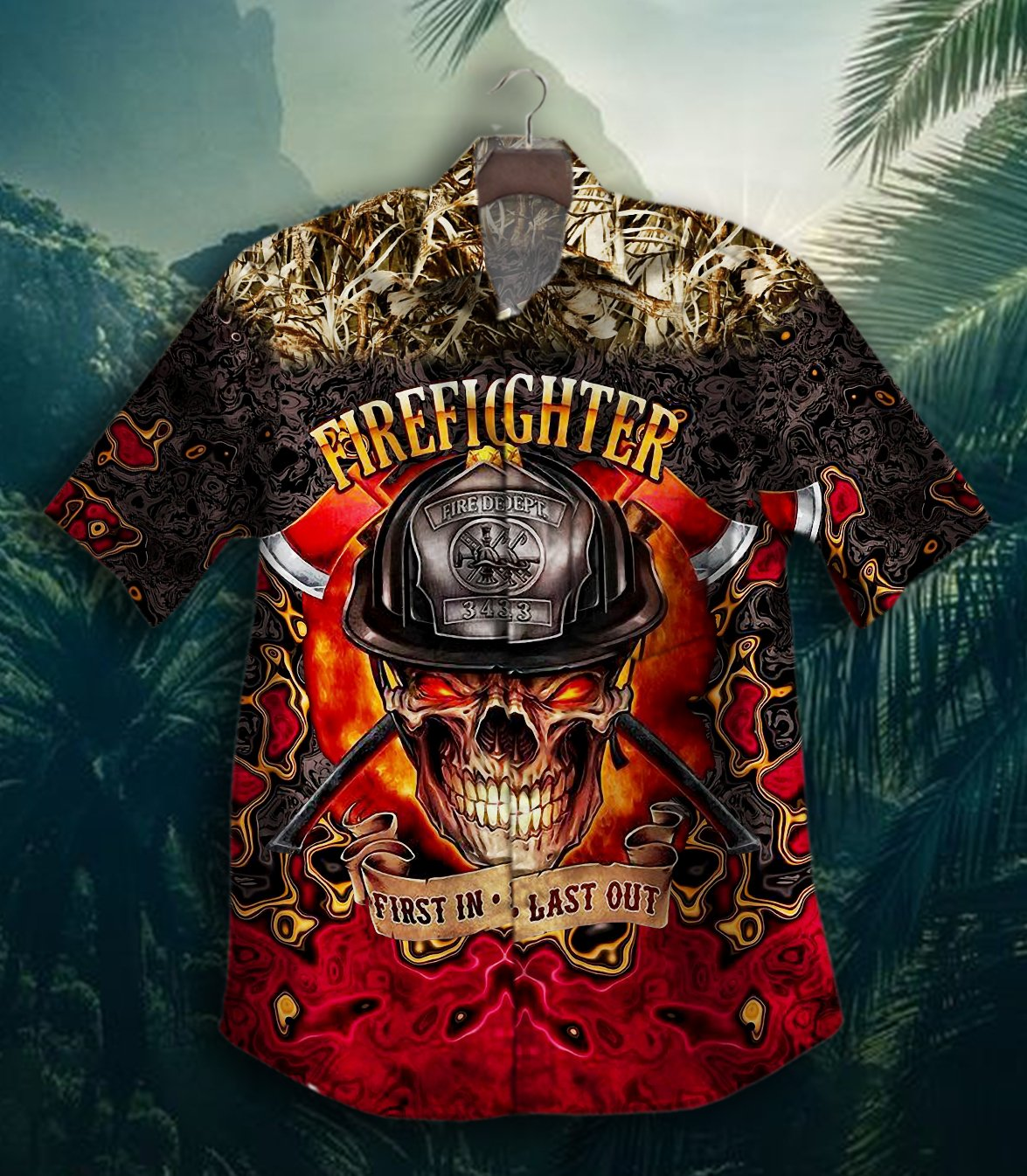 FireFighter Skull First In Last Out Hawaiian Shirt