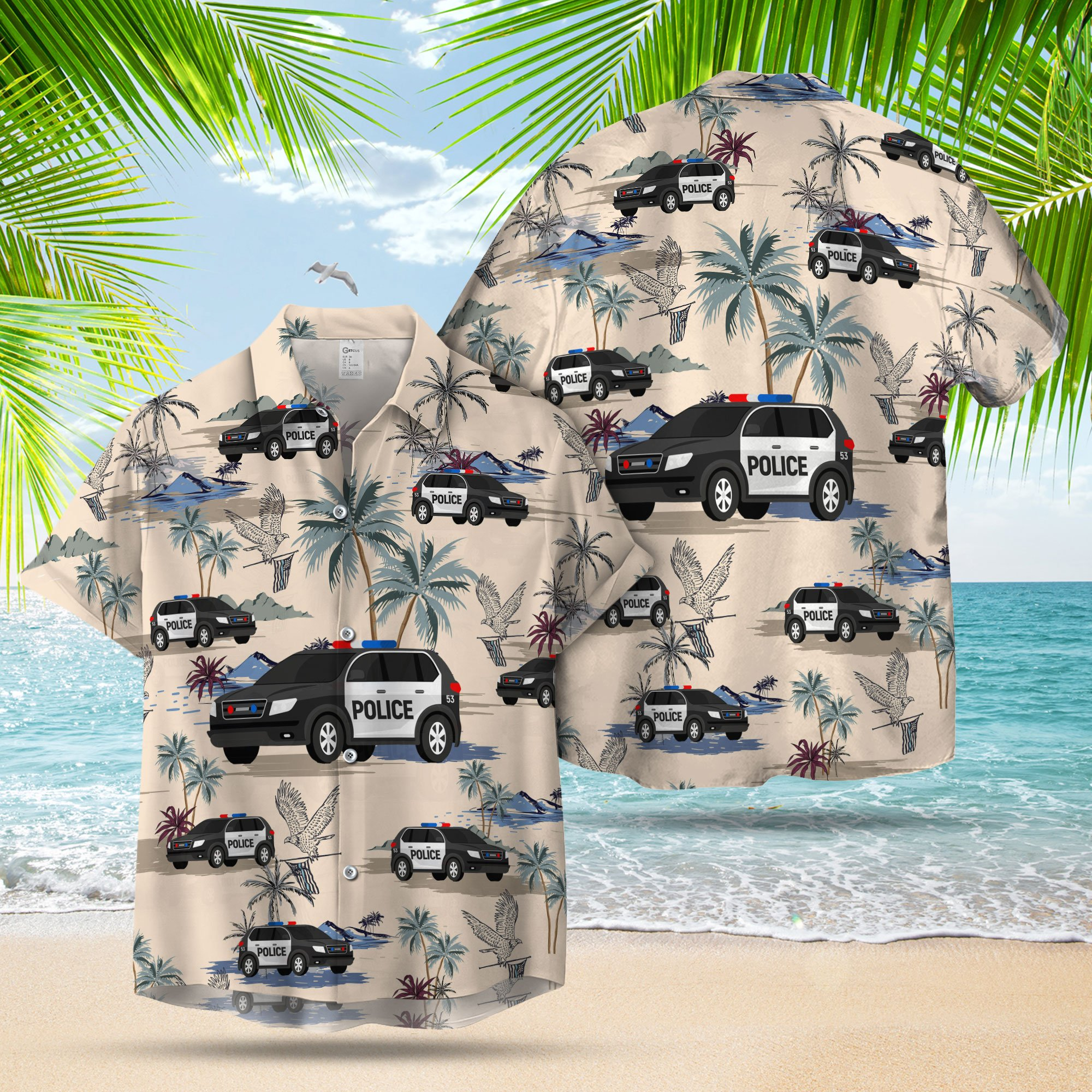 POLICE CARS SEAMLESS PATTERN HAWAIIAN SHIRT