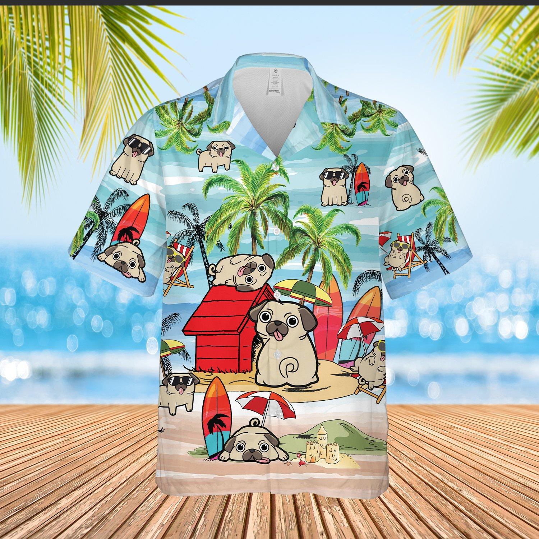 Pug Playing on beach Hawaiian Shirt