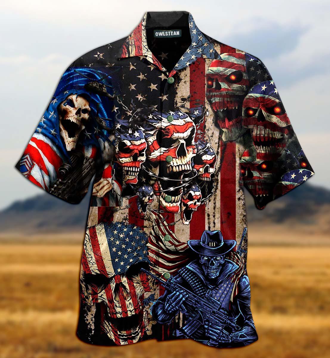 America Skull Pride Attack Edition Hawaiian Shirt