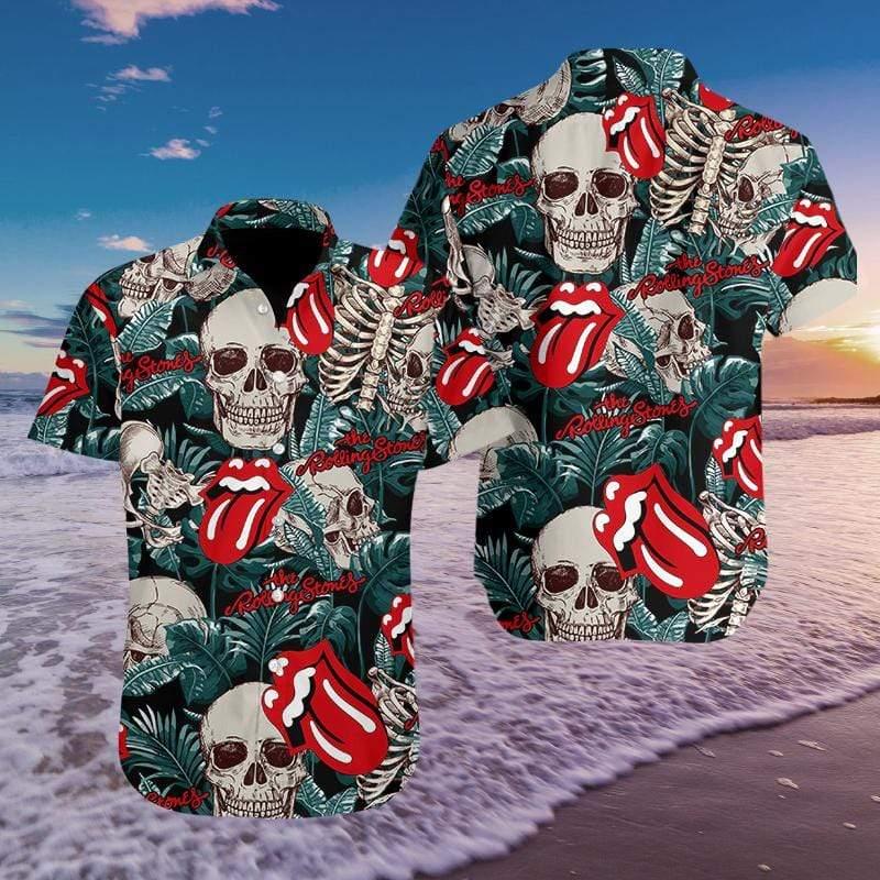 Music Skull The Rolling Stone Hawaiian Aloha Shirts