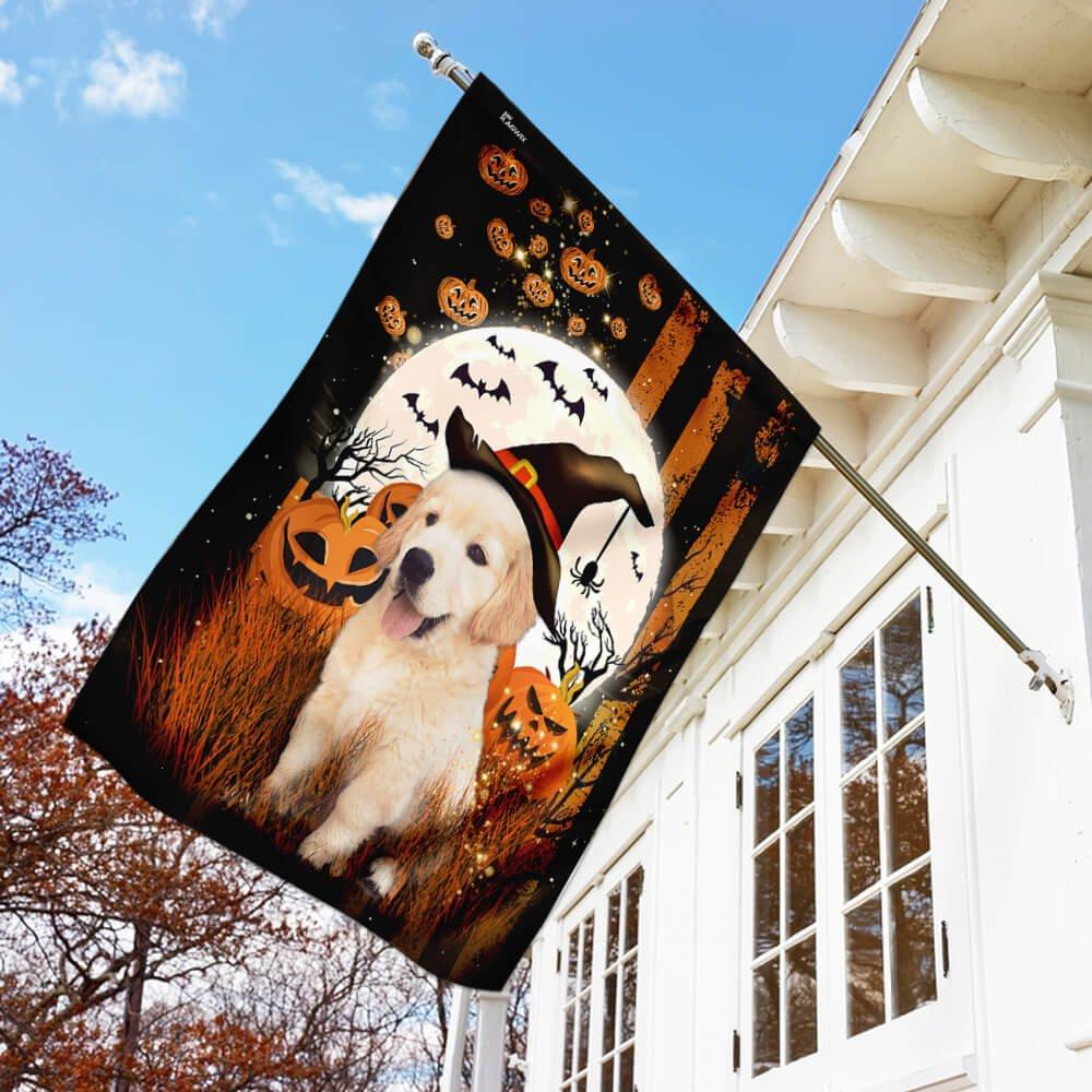 Golden Retriever Happy Halloween House Flag Garden Flag