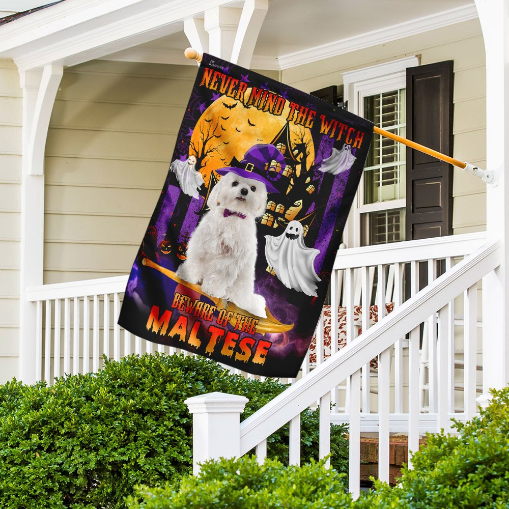 Never Mind The Witch Beware Of The Maltese Halloween Flag
