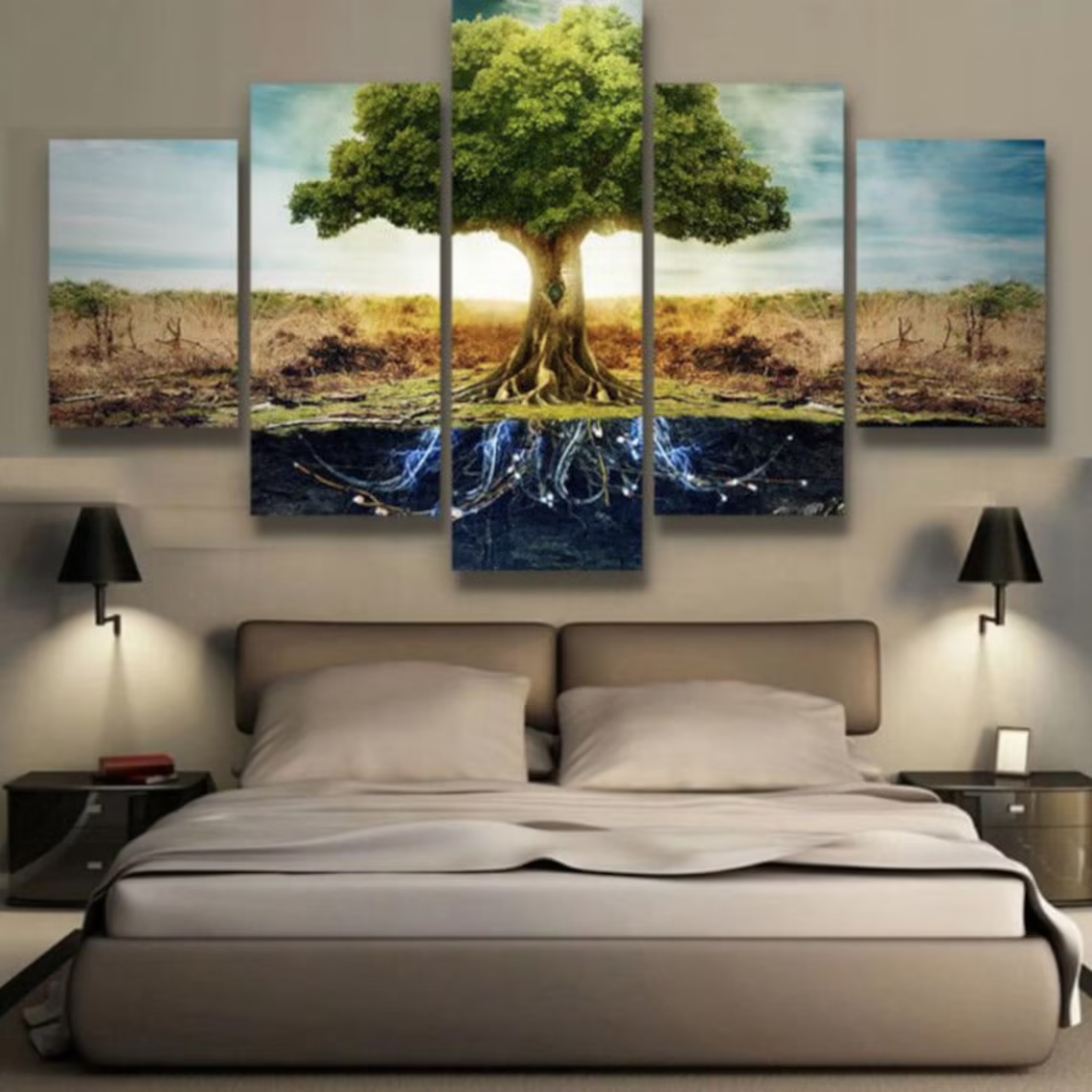 Tree of Life Landscape 5 Piece Five Panel Canvas