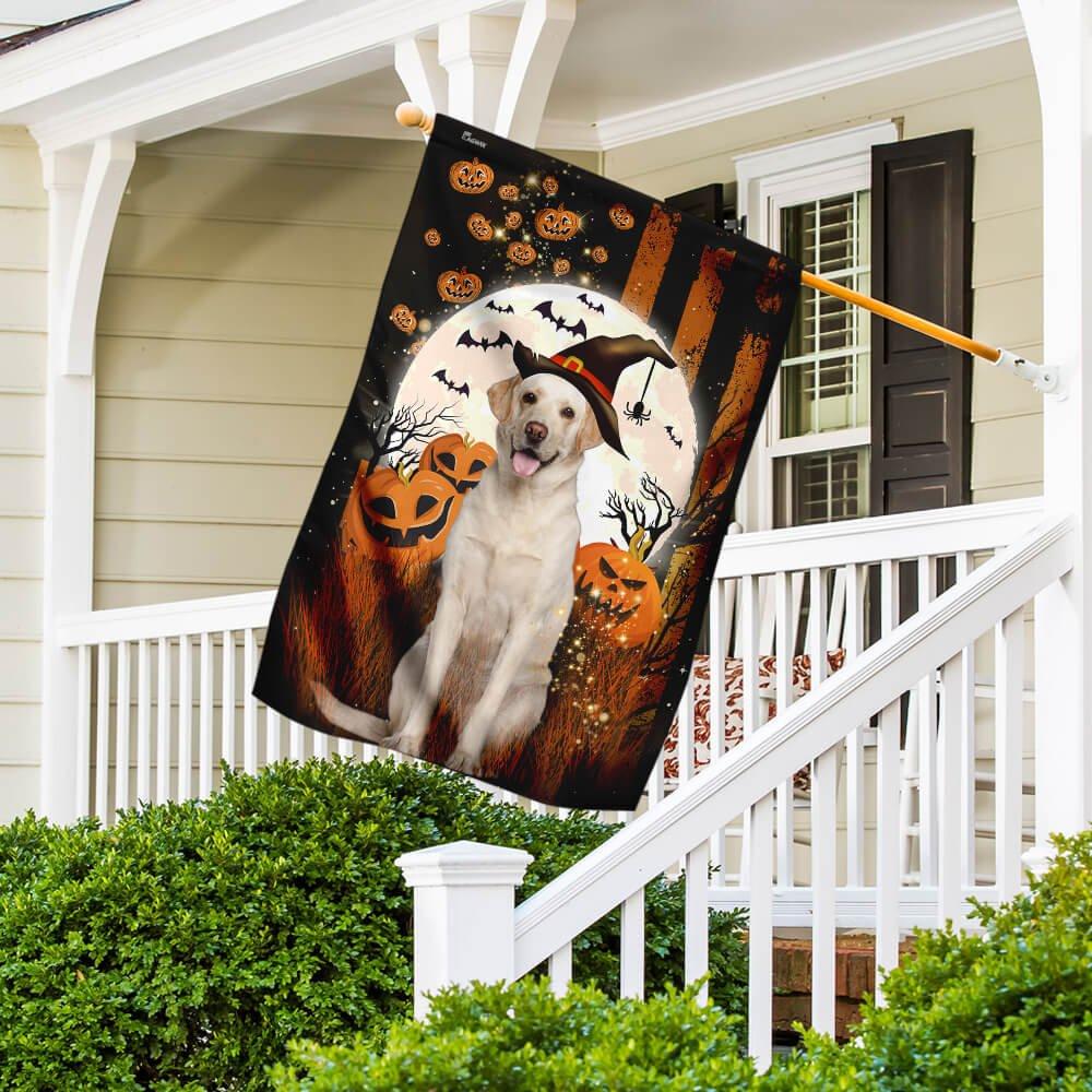Yellow Labrador Happy Halloween Moon night Flag for Dog Lover