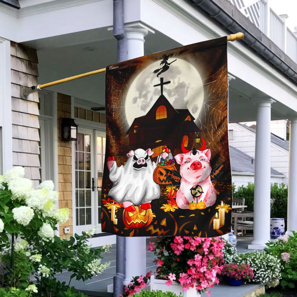 Pigs Costume Ghost Halloween Flag House Flag