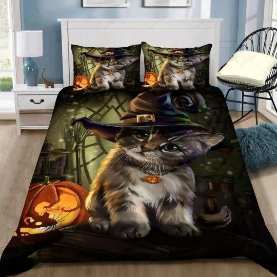 Cute Cat witch pointed hat Halloween Bedding Set