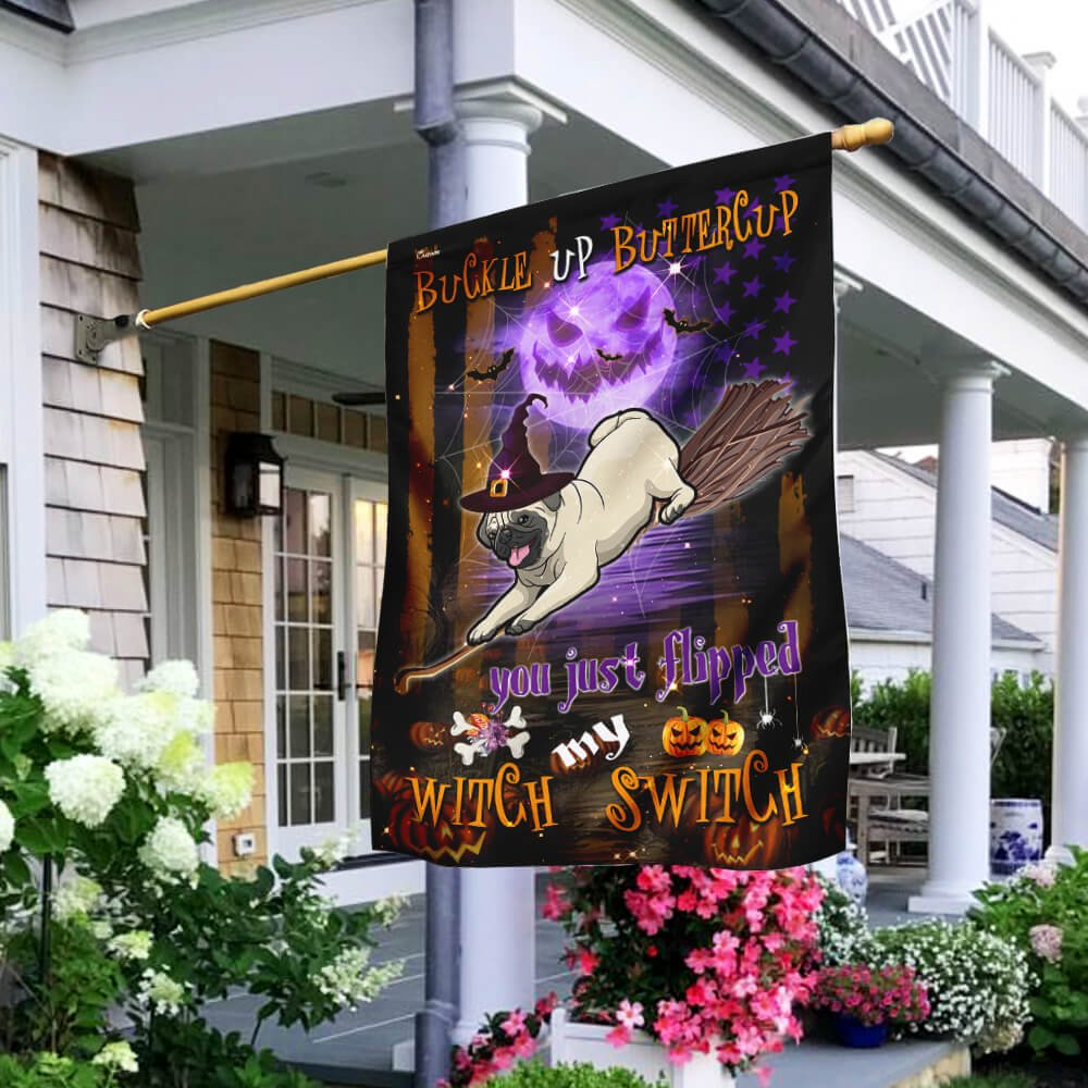 Pug Witch Switch flying broom Halloween House Flag Garden Flag