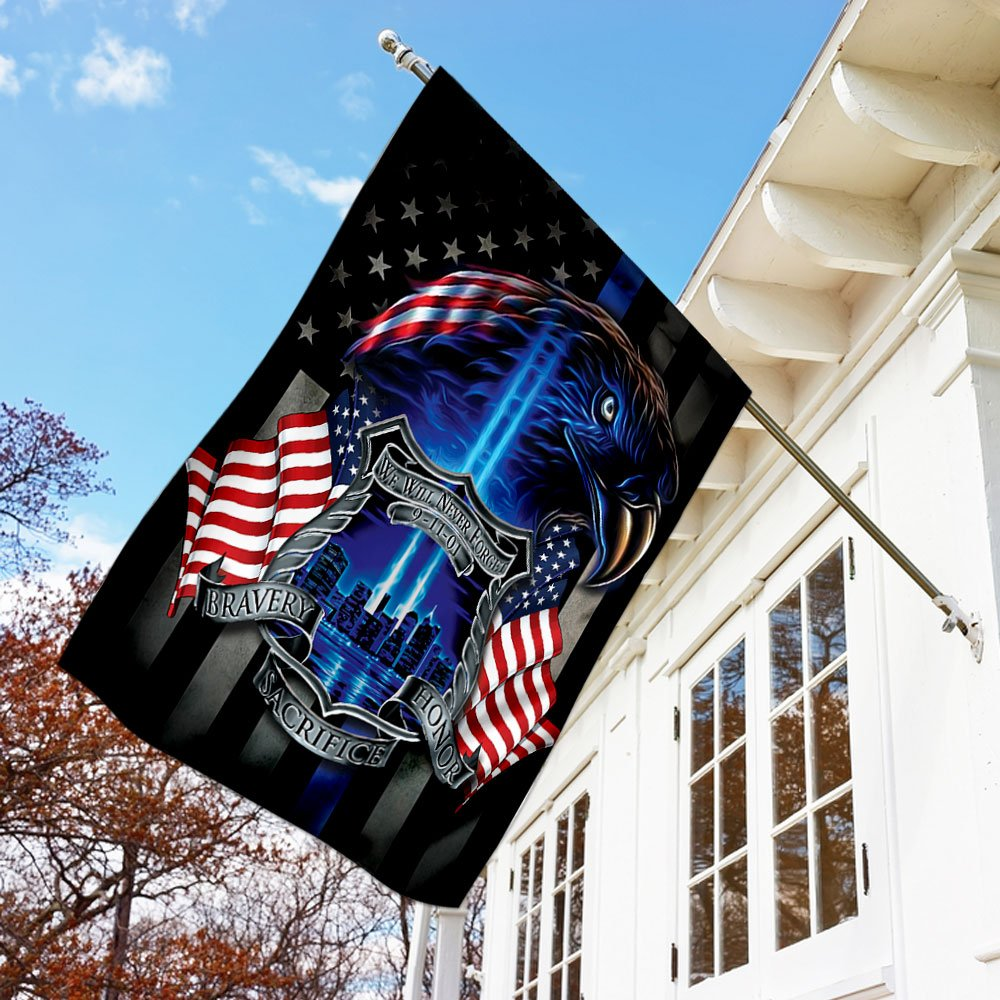 American Police We Will Never Forget 911 Bravery Sacrifice Honor Flag