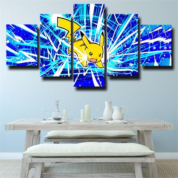 Thunder Pikachu Pokemon 5 panel canvas