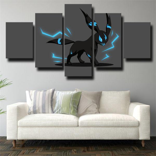 Thunder Umbreon Black Pokemon 5 panel canvas