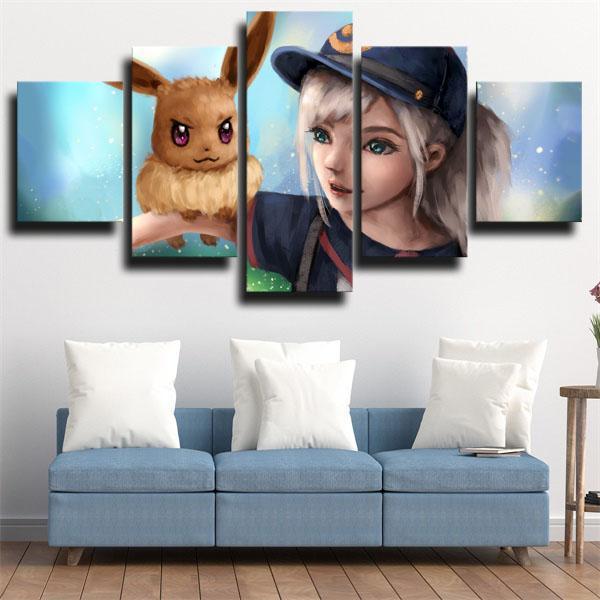 Raichu and Eevee Pokemon 5 panel canvas