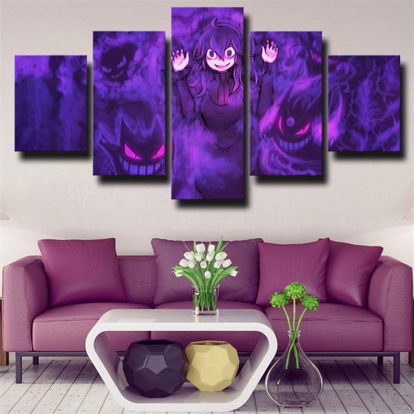 Gastly Purple Pokemon 5 panel canvas