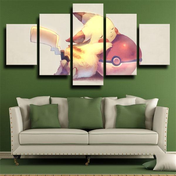 Pikachu with Ball Pokemon 5 panel canvas