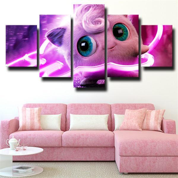 Jigglypuff Pink Pokemon 5 panel canvas