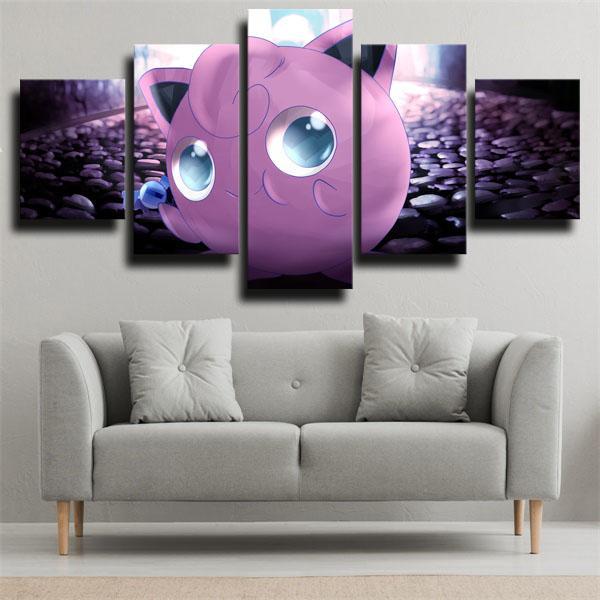 Jigglypuff Pokemon 5 panel canvas