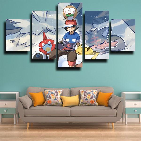 Litten with Other Characters Pokemon 5 panel canvas