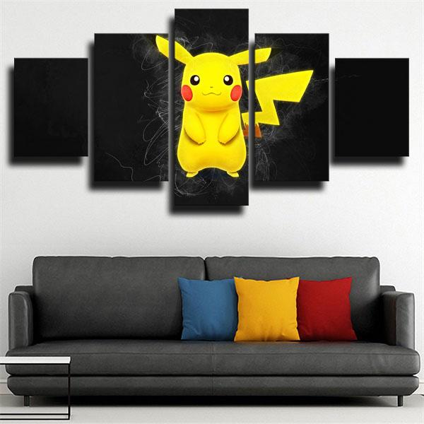 Pikachu Black Pokemon 5 panel canvas