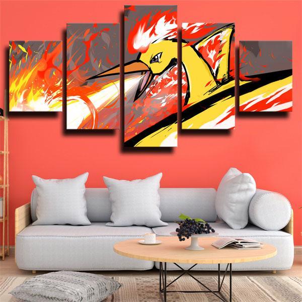 Moltres Pokemon 5 panel canvas