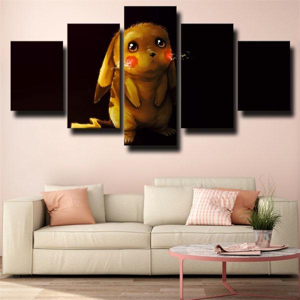 Cute Pikachu Black Pokemon 5 panel canvas