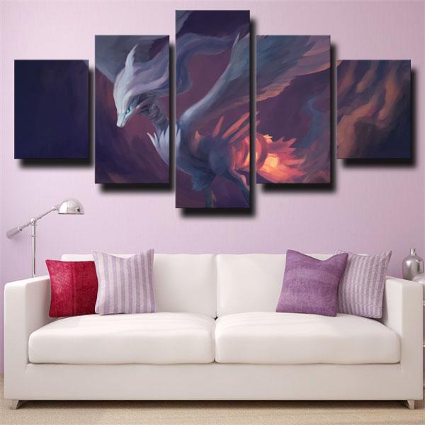 Reshiram Purple Pokemon 5 panel canvas