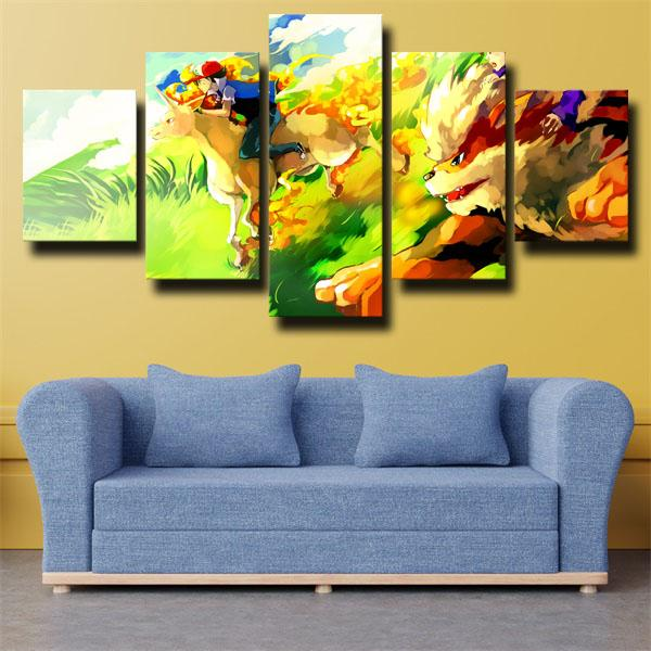 Ash Ketchum and Other Characters Pokemon 5 panel canvas