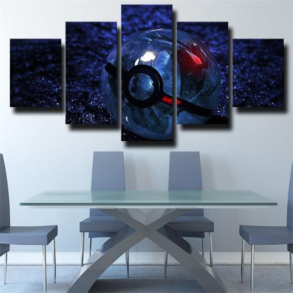 Ball Blue Pokemon 5 panel canvas
