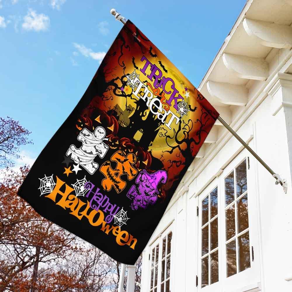 Trick Or Treat Halloween Autism House Flag Garden Flag