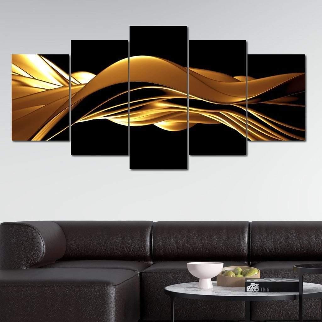 Golden Wave 5 panel wall art canvas