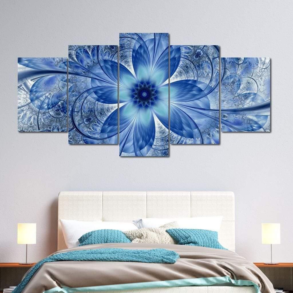 Dark Blue Fractal Flower 5 panel wall art canvas