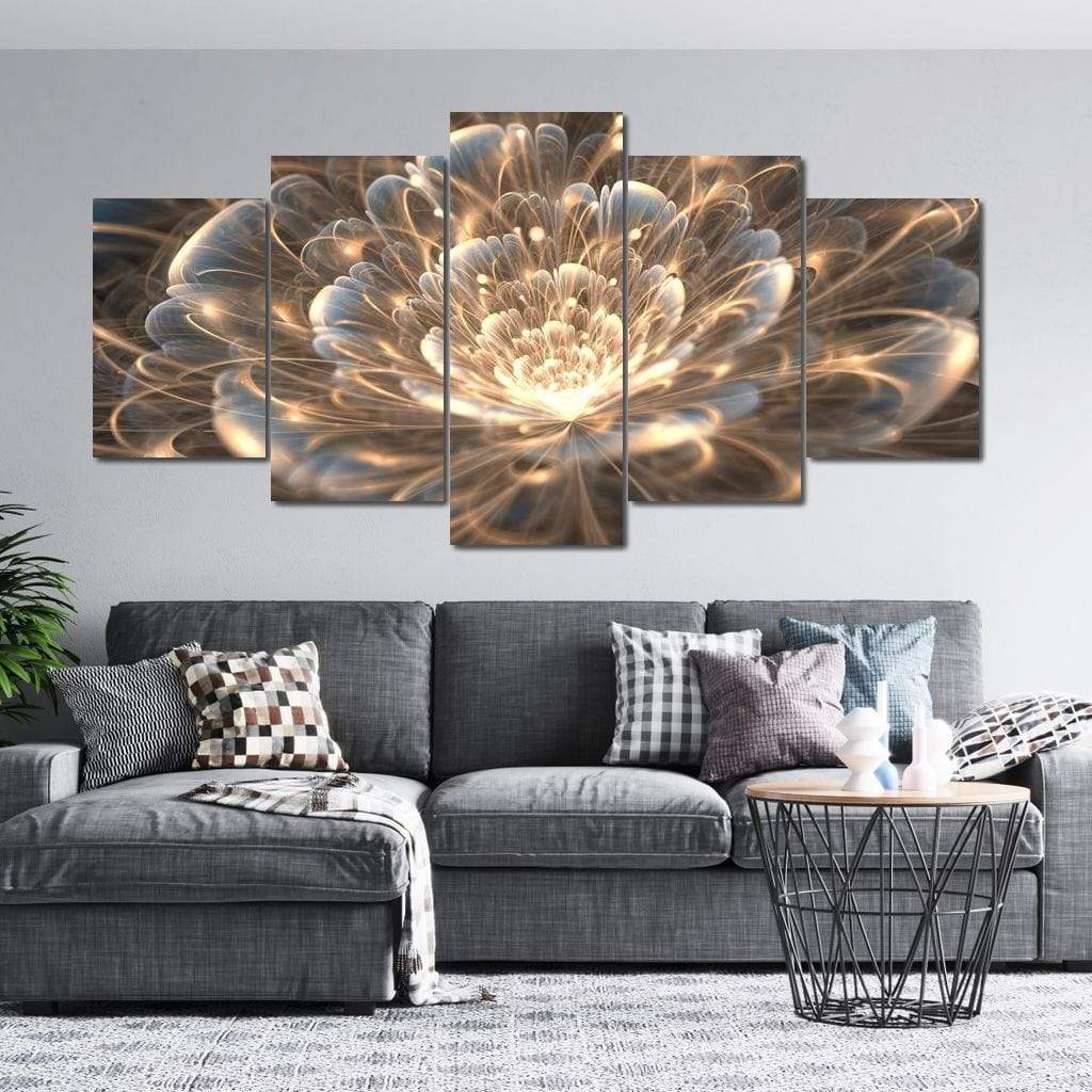 Fractal Flower with Golden Rays 5 Panels Canvas