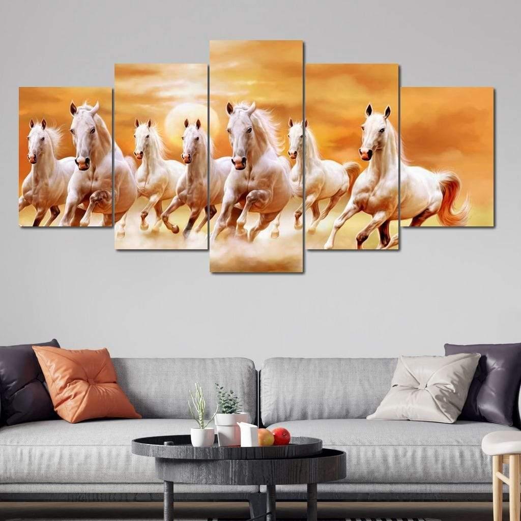 Seven Horses 5 panel wall art canvas