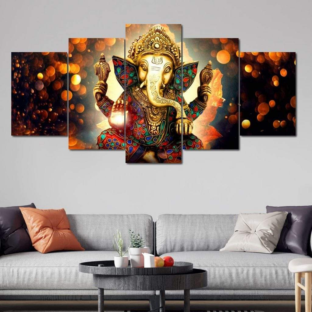 The Hindu God Ganesh 5 panel wall art canvas