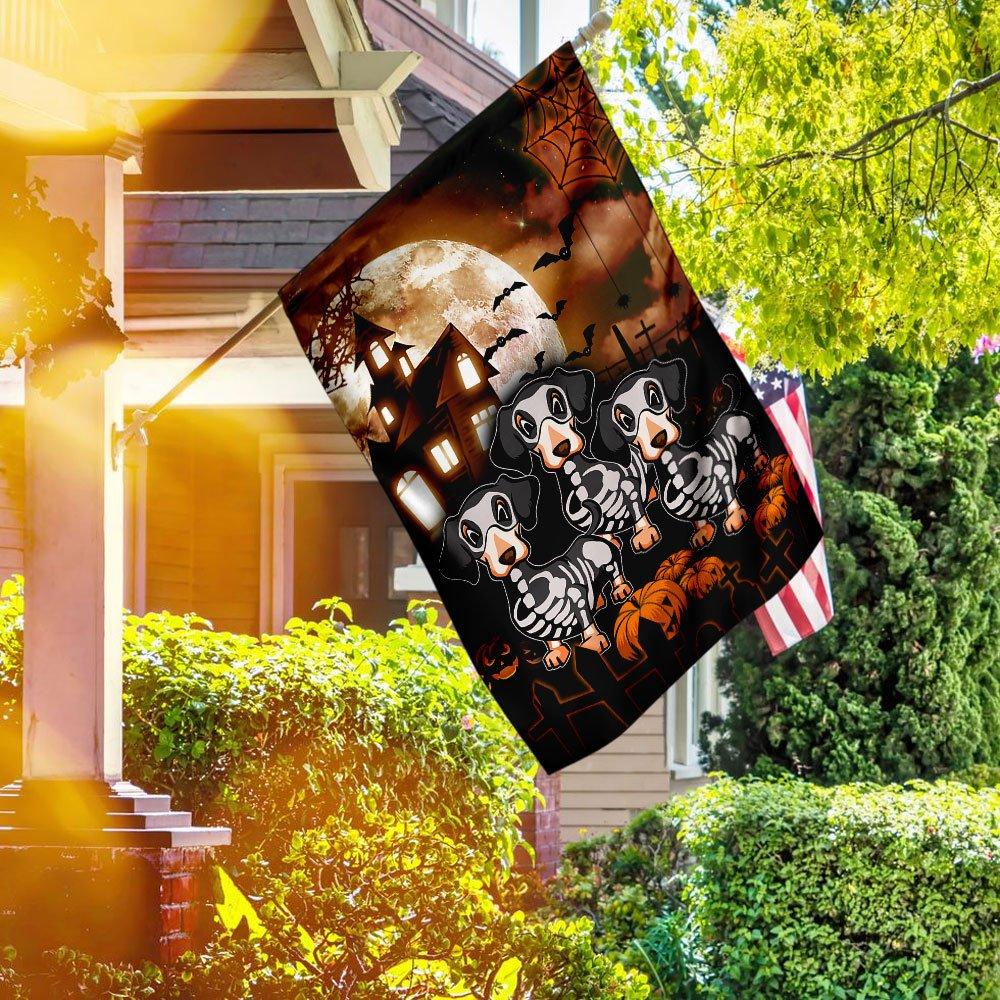Happy Halloween Dachshund Costume House Flag Garden Flag