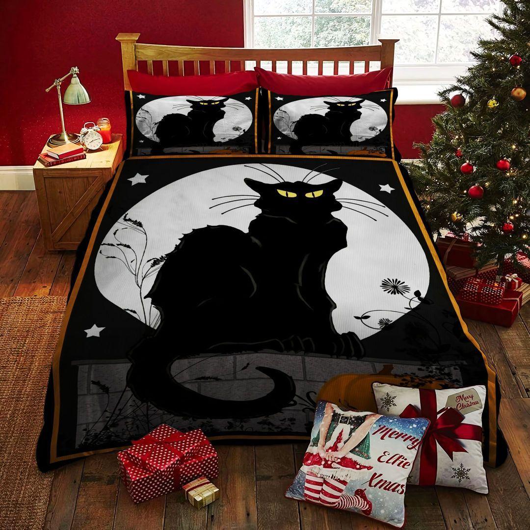 HALLOWEEN black cat and big Moon BEDDING SET