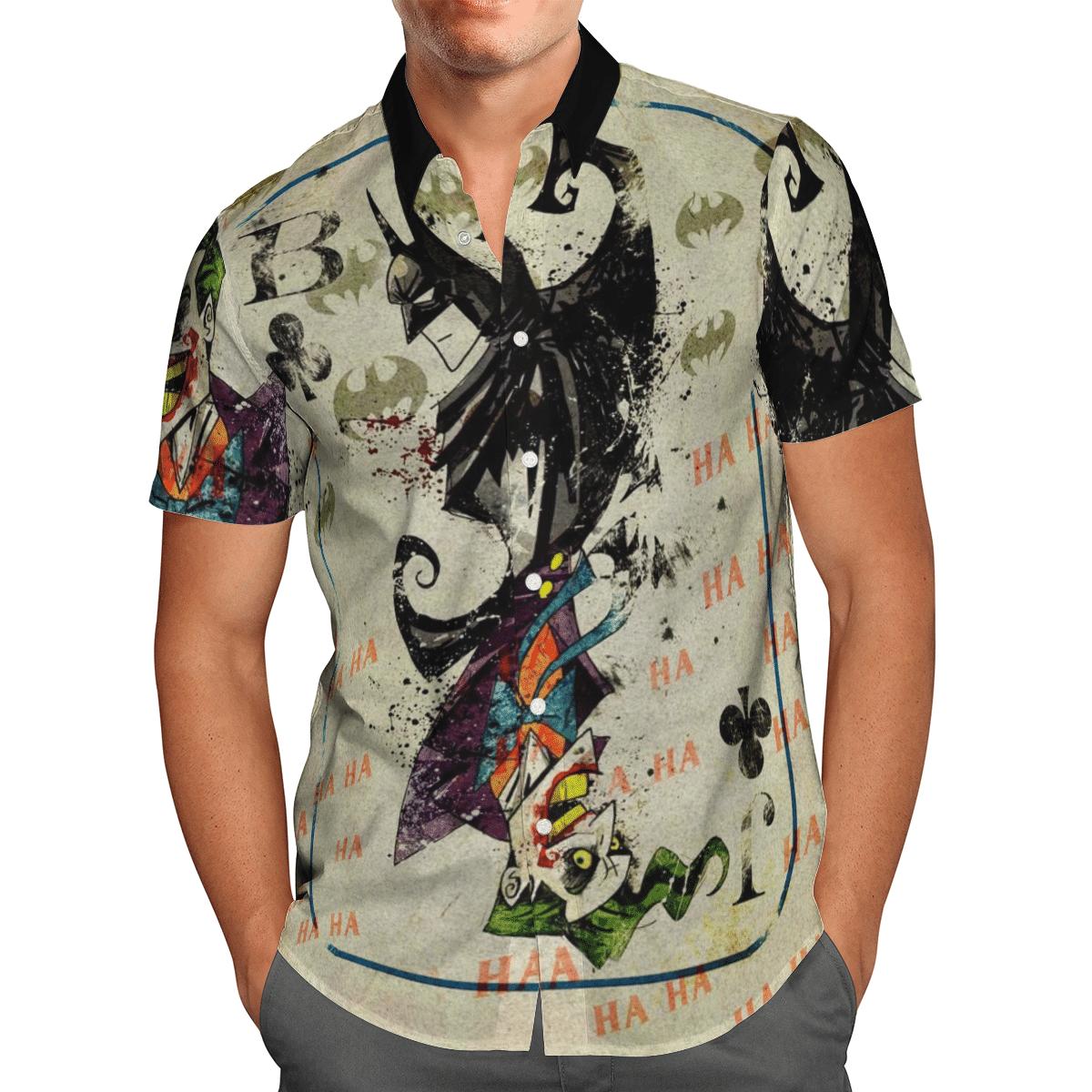 Batman and Joker card colorful ink Hawaiian Shirt