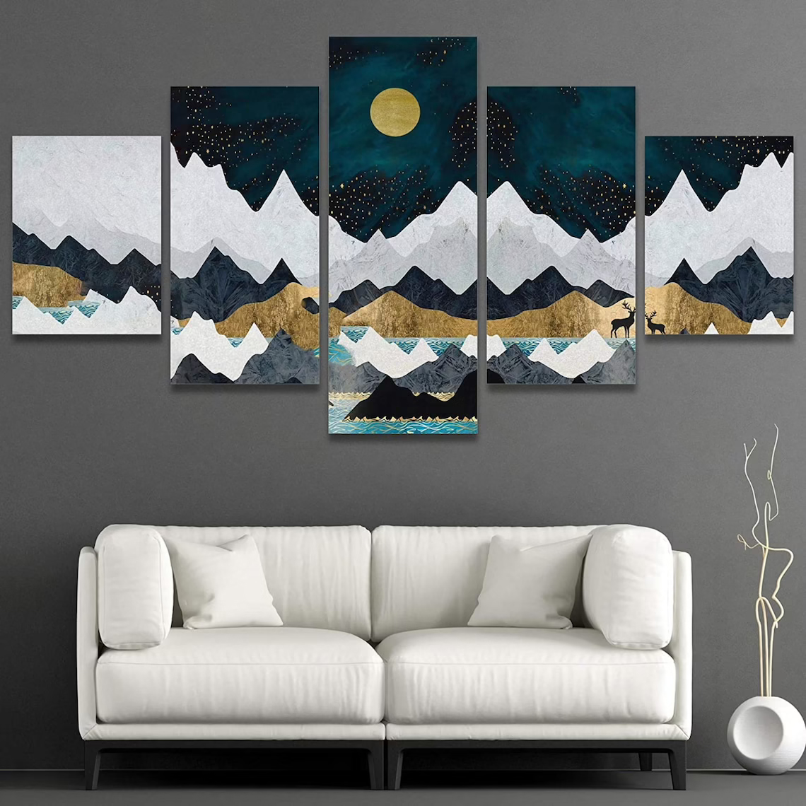 Mountain under blue sky with moon 5 piece wall art canvas