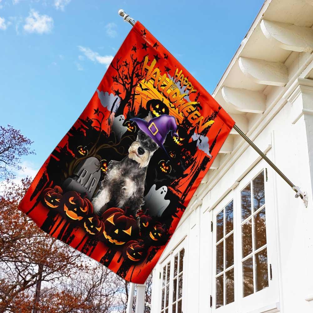 Schnauzer Happy Halloween House Flag Garden Flag