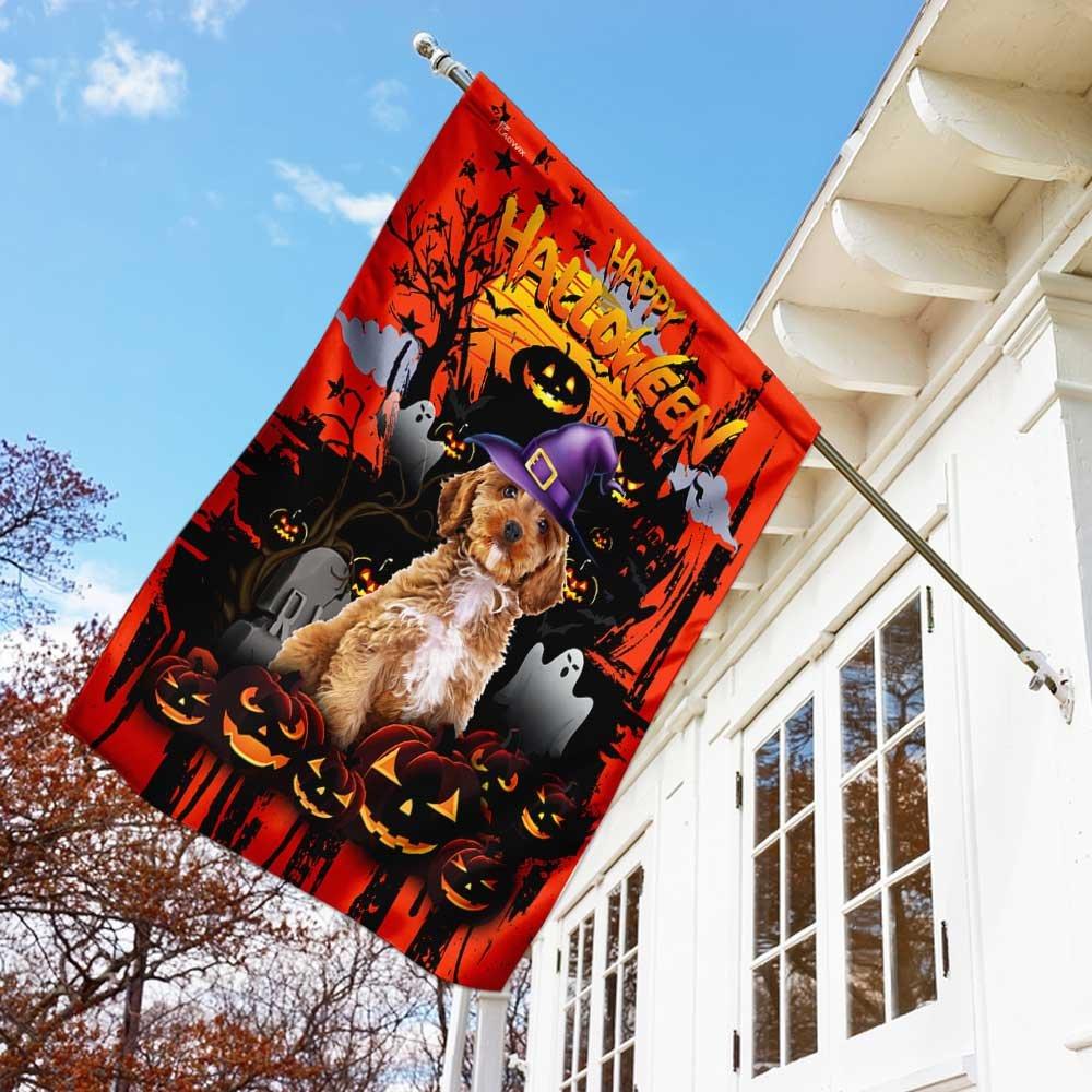 Goldendoodle Happy Halloween House Flag Garden Flag