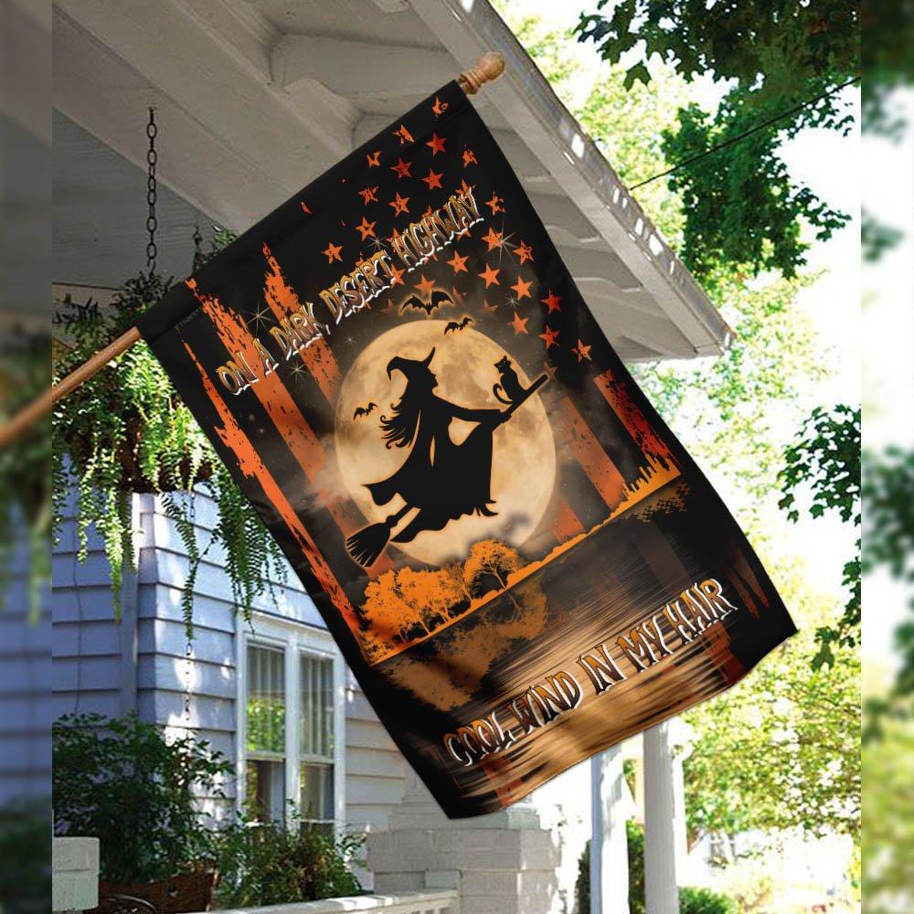 Halloween Witch Dark Desert Highway Cool wind in my hair flag