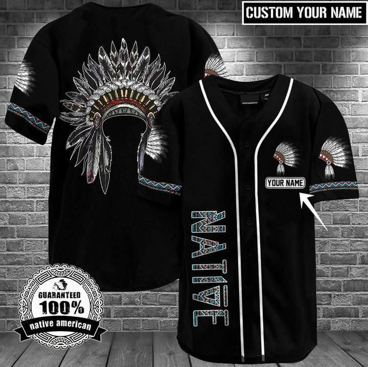 Custom name Black Native American Headdress Chief Baseball Jersey