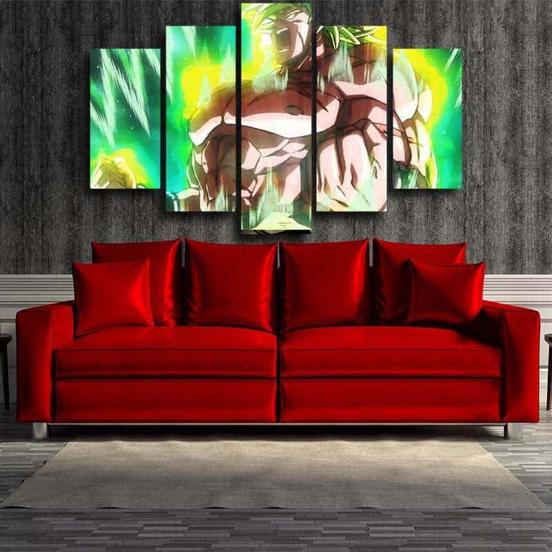 Dragon Ball Fearless Broly Full Power 5 panel Canvas Print.