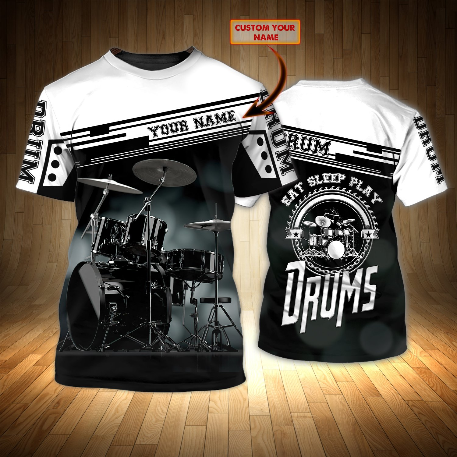 Eat Sleep Play Drums Personalized Name 3D Tshirt