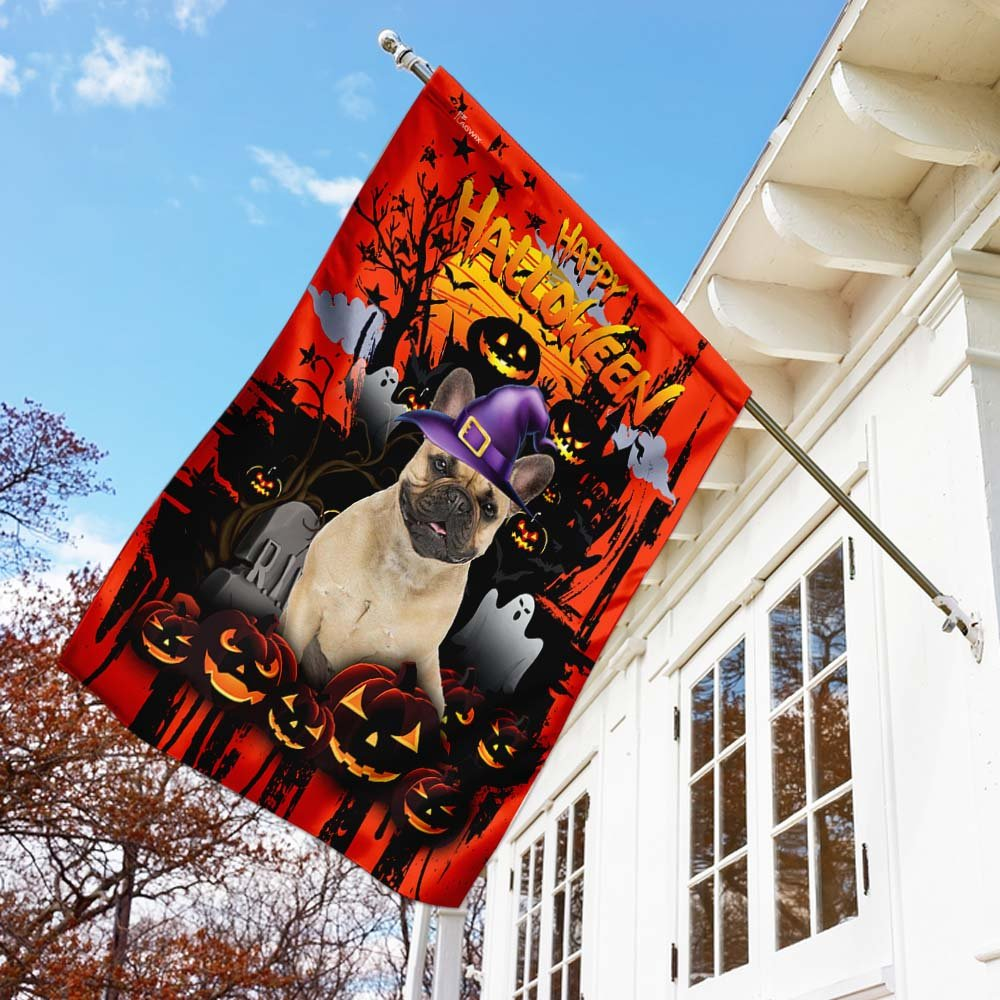 French Bulldog Happy Halloween House Flag Garden Flag