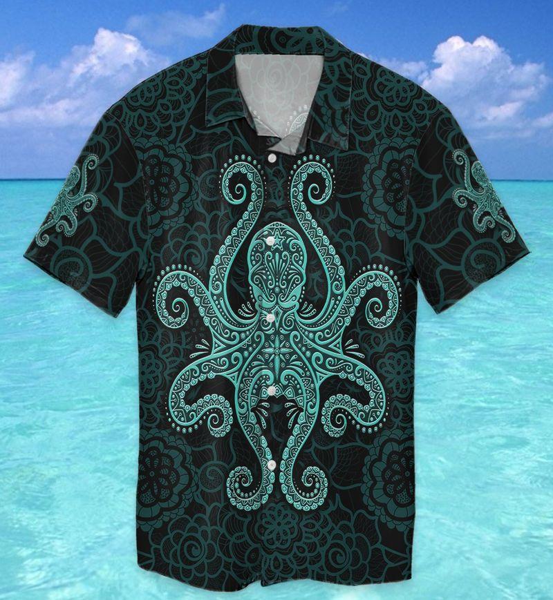 Octopus Pattern Green Hawaiian shirt