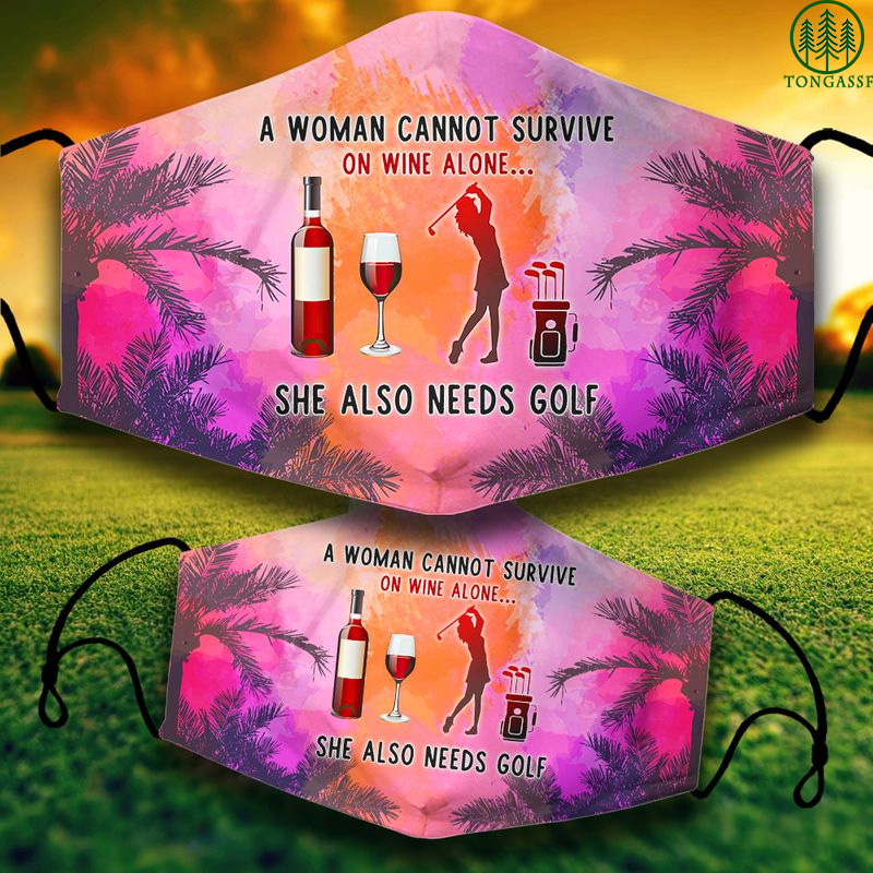 A woman can survive on wine and golf face mask