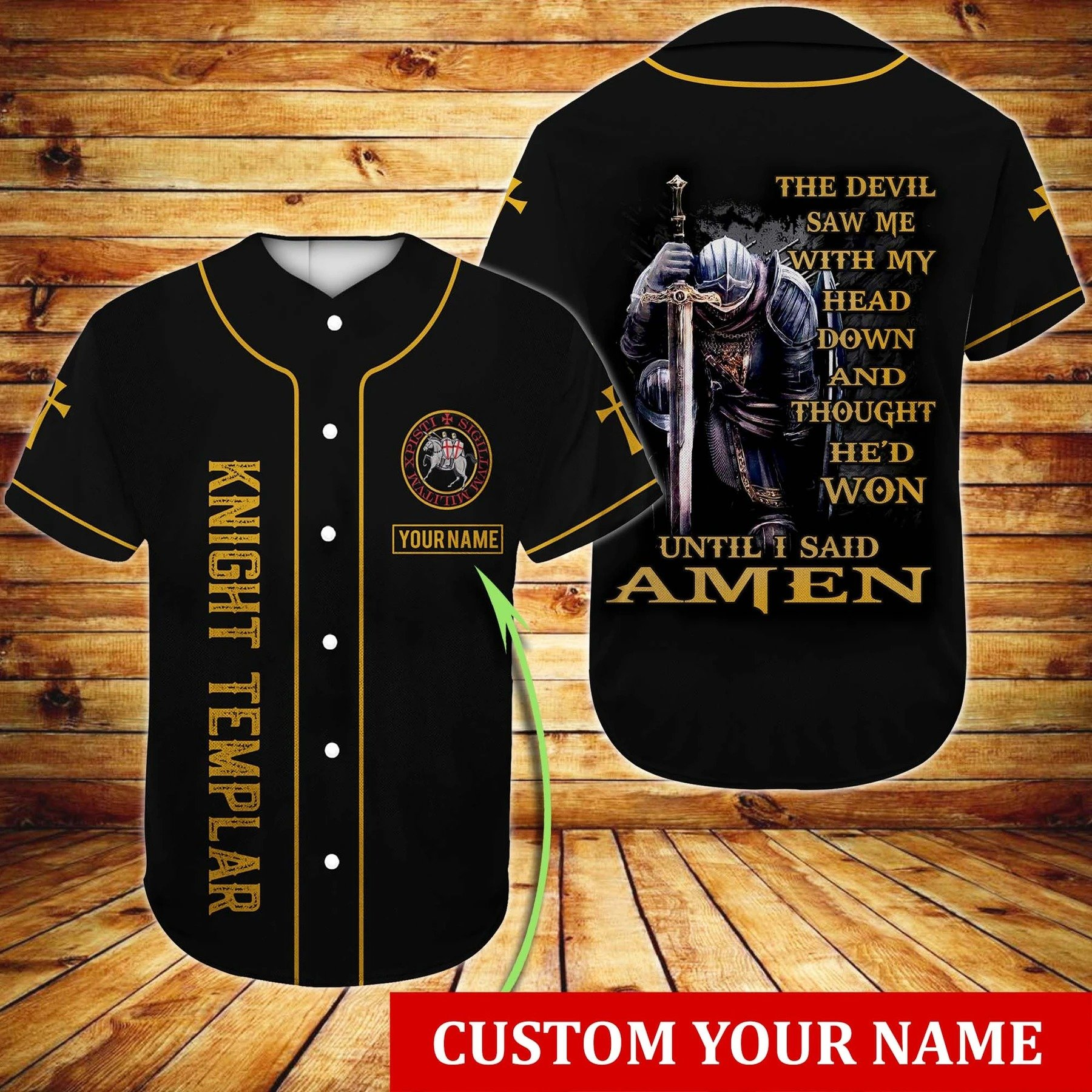 Personalized Christian Knight Templar The Devil Saw Me With My Head Down Baseball Jersey