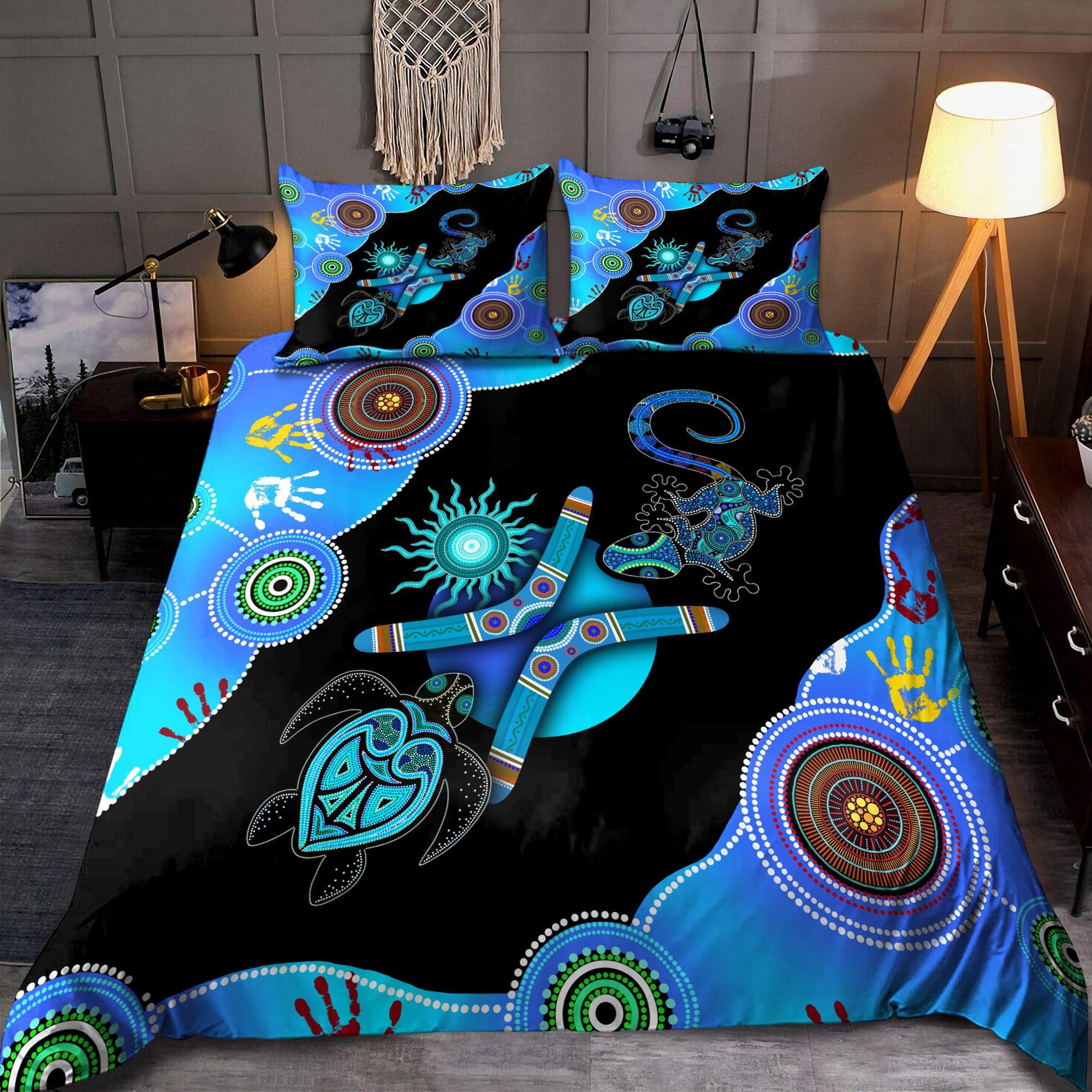 Aboriginal Naidoc Week Blue Turtle Lizard Bedding set 2